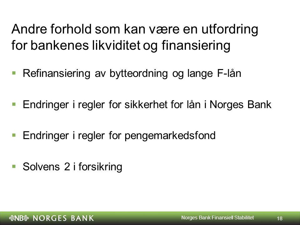 Andre forhold som kan være en utfordring for bankenes likviditet og finansiering  Refinansiering av bytteordning og lange F-lån  Endringer i regler for sikkerhet for lån i Norges Bank  Endringer i regler for pengemarkedsfond  Solvens 2 i forsikring 18 Norges Bank Finansiell Stabilitet
