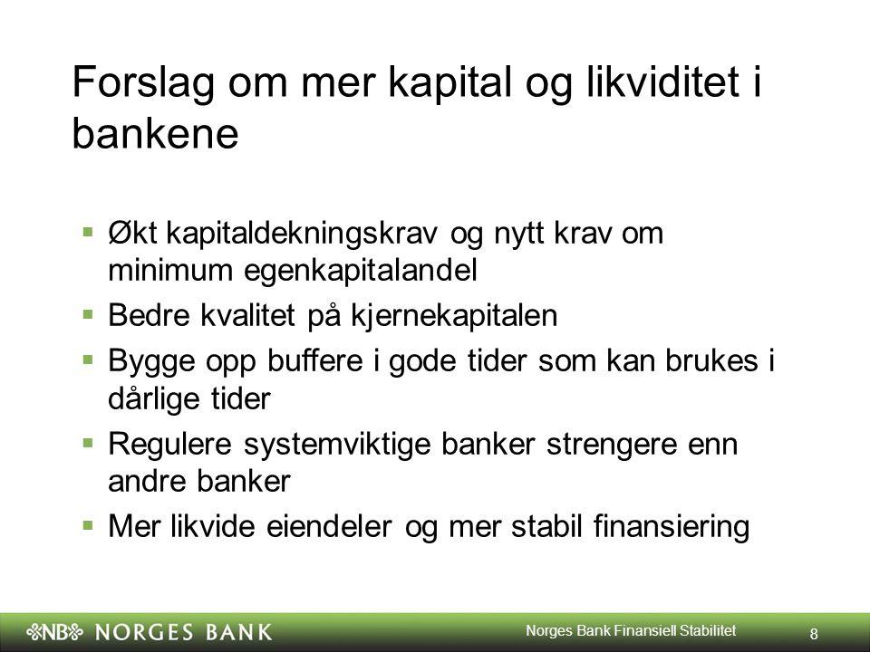 Forslag om mer kapital og likviditet i bankene  Økt kapitaldekningskrav og nytt krav om minimum egenkapitalandel  Bedre kvalitet på kjernekapitalen  Bygge opp buffere i gode tider som kan brukes i dårlige tider  Regulere systemviktige banker strengere enn andre banker  Mer likvide eiendeler og mer stabil finansiering 8 Norges Bank Finansiell Stabilitet