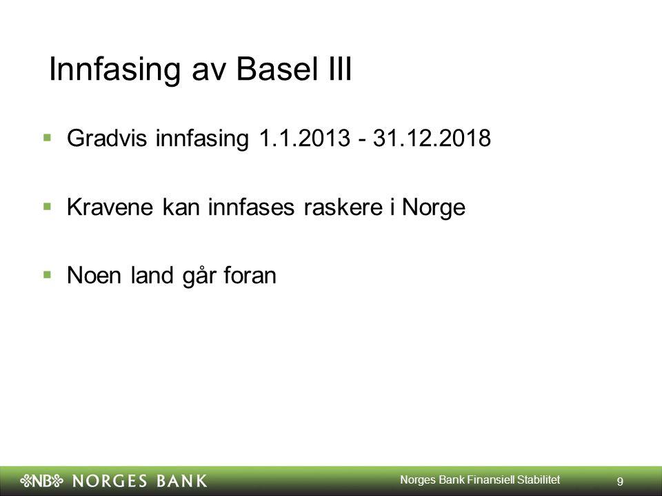Innfasing av Basel III  Gradvis innfasing 1.1.2013 - 31.12.2018  Kravene kan innfases raskere i Norge  Noen land går foran 9 Norges Bank Finansiell Stabilitet