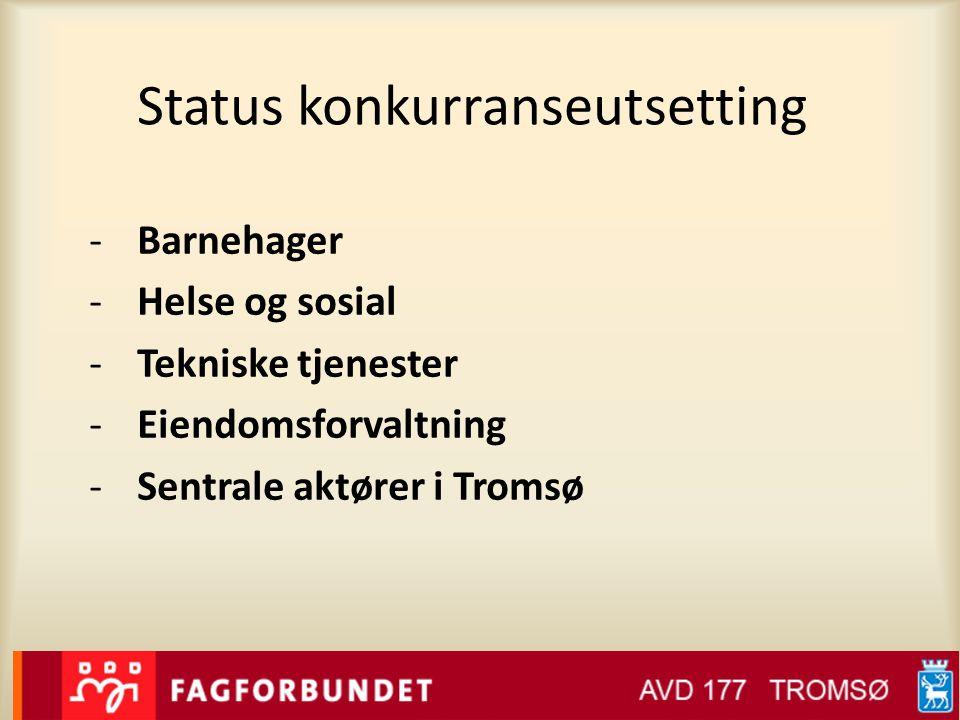 Status konkurranseutsetting -Barnehager -Helse og sosial -Tekniske tjenester -Eiendomsforvaltning -Sentrale aktører i Tromsø
