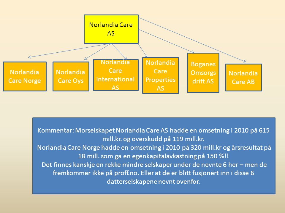 Norlandia Care AS Norlandia Care Norge Norlandia Care Oys Norlandia Care International AS Norlandia Care Properties AS Boganes Omsorgs drift AS Norlan