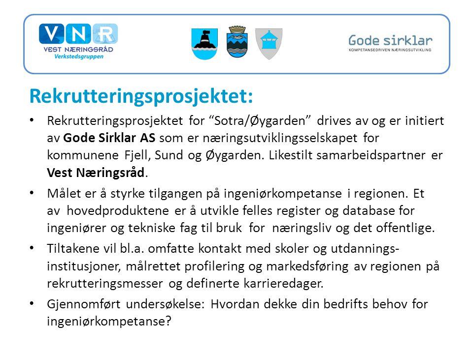 Rekrutteringsprosjektet: • Rekrutteringsprosjektet for Sotra/Øygarden drives av og er initiert av Gode Sirklar AS som er næringsutviklingsselskapet for kommunene Fjell, Sund og Øygarden.
