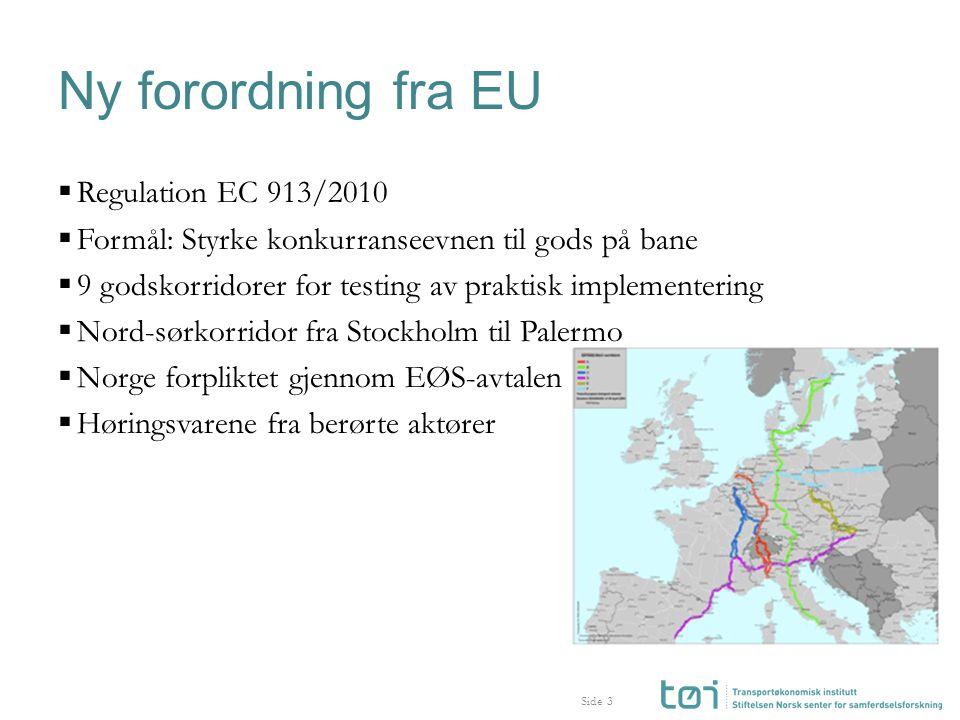 Side Ny forordning fra EU  Regulation EC 913/2010  Formål: Styrke konkurranseevnen til gods på bane  9 godskorridorer for testing av praktisk implementering  Nord-sørkorridor fra Stockholm til Palermo  Norge forpliktet gjennom EØS-avtalen  Høringsvarene fra berørte aktører 3