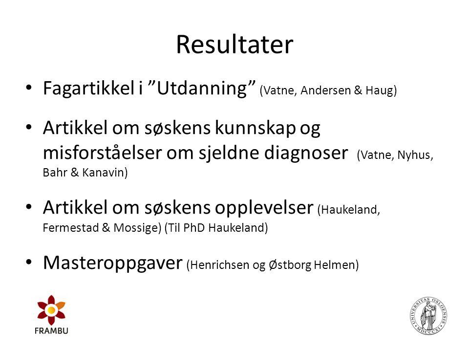 "Resultater • Fagartikkel i ""Utdanning"" (Vatne, Andersen & Haug) • Artikkel om søskens kunnskap og misforståelser om sjeldne diagnoser (Vatne, Nyhus, B"