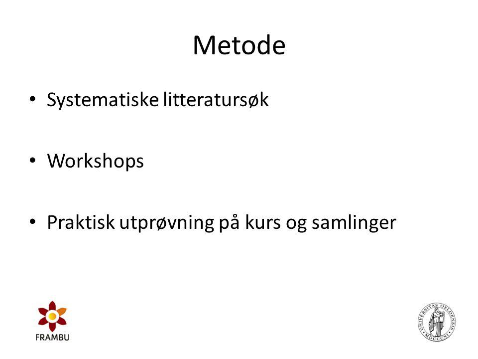 Metode • Systematiske litteratursøk • Workshops • Praktisk utprøvning på kurs og samlinger