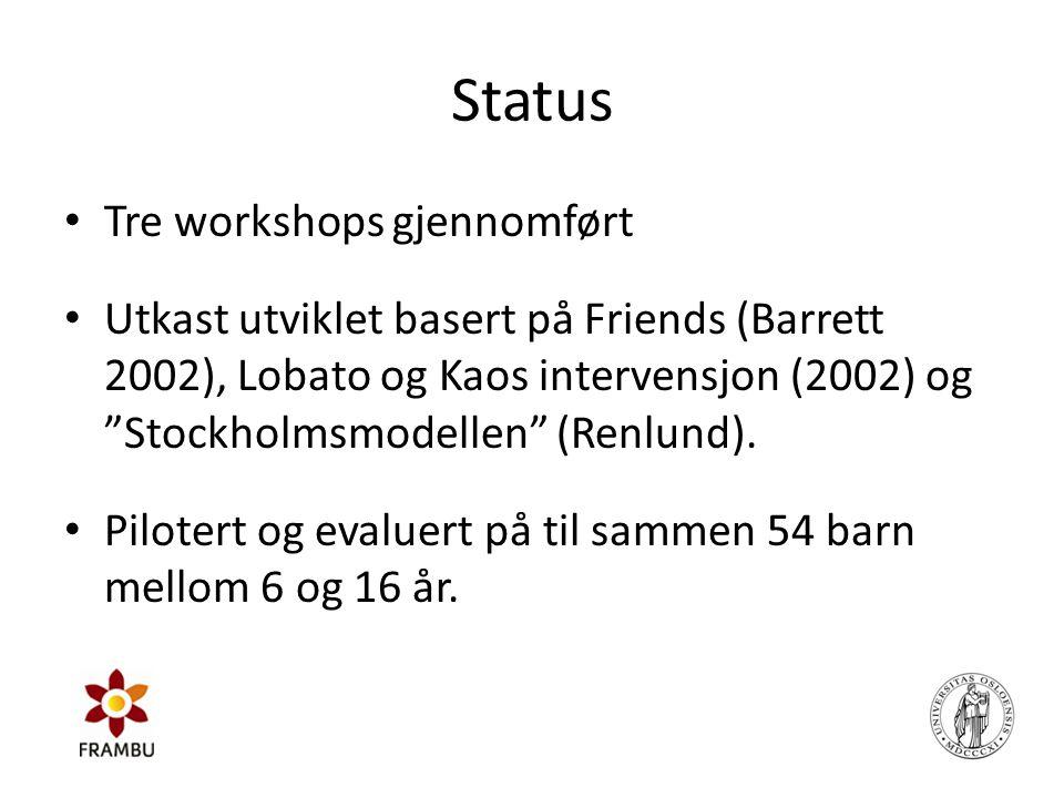 """Status • Tre workshops gjennomført • Utkast utviklet basert på Friends (Barrett 2002), Lobato og Kaos intervensjon (2002) og """"Stockholmsmodellen"""" (Ren"""