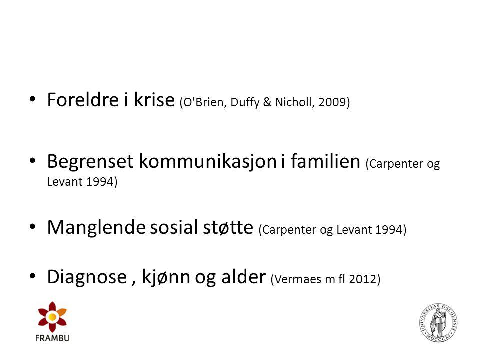 • Foreldre i krise (O'Brien, Duffy & Nicholl, 2009) • Begrenset kommunikasjon i familien (Carpenter og Levant 1994) • Manglende sosial støtte (Carpent