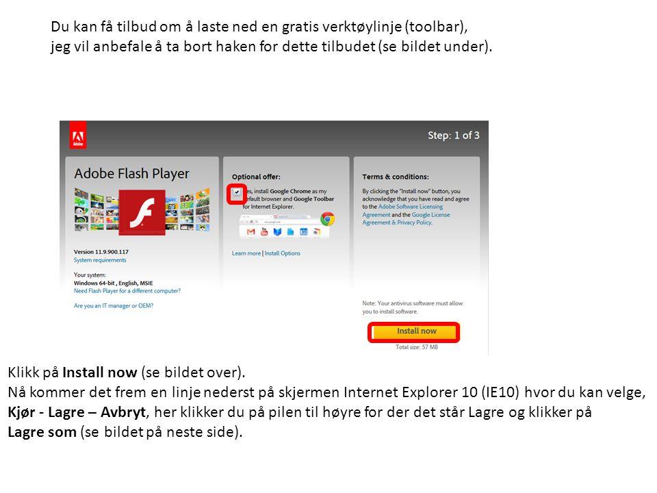 Du kan få tilbud om å laste ned en gratis verktøylinje (toolbar), jeg vil anbefale å ta bort haken for dette tilbudet (se bildet under). Klikk på Inst