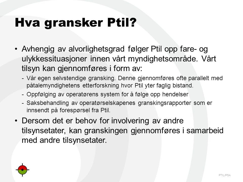 PTIL/PSA Hva gransker Ptil? •Avhengig av alvorlighetsgrad følger Ptil opp fare- og ulykkessituasjoner innen vårt myndighetsområde. Vårt tilsyn kan gje