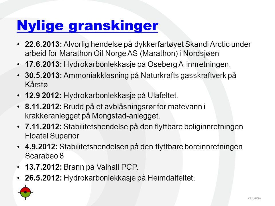 PTIL/PSA Nylige granskinger •22.6.2013: Alvorlig hendelse på dykkerfartøyet Skandi Arctic under arbeid for Marathon Oil Norge AS (Marathon) i Nordsjøe