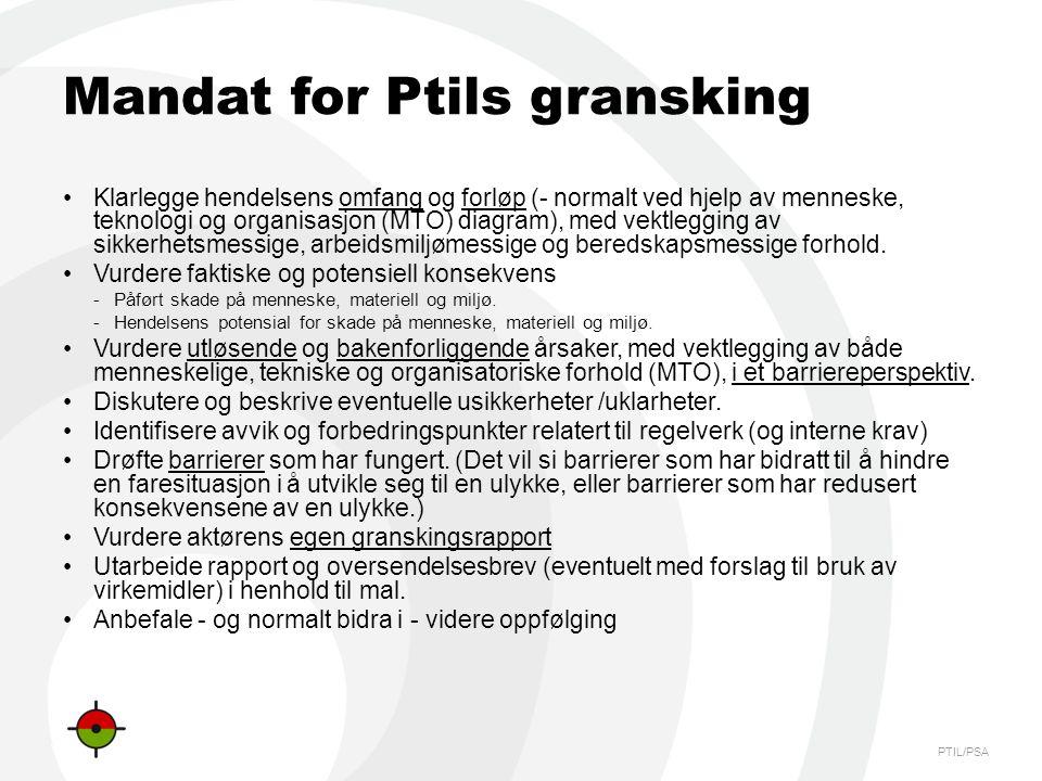 PTIL/PSA Mandat for Ptils gransking •Klarlegge hendelsens omfang og forløp (- normalt ved hjelp av menneske, teknologi og organisasjon (MTO) diagram),