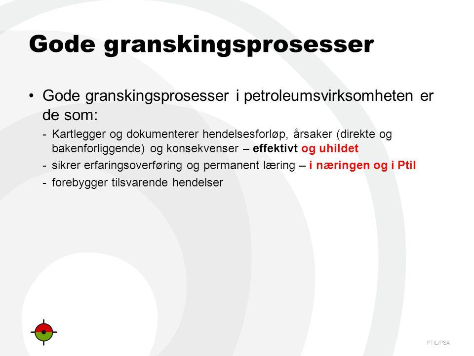 PTIL/PSA Gode granskingsprosesser •Gode granskingsprosesser i petroleumsvirksomheten er de som: -Kartlegger og dokumenterer hendelsesforløp, årsaker (