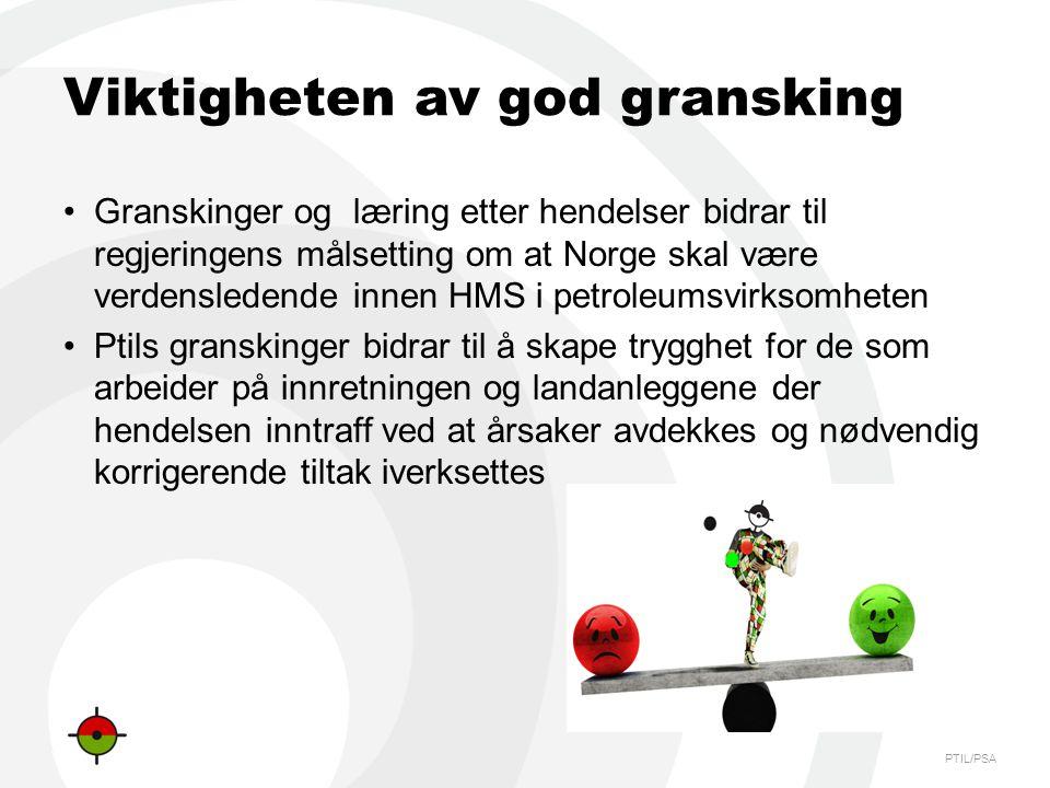 PTIL/PSA Viktigheten av god gransking •Granskinger og læring etter hendelser bidrar til regjeringens målsetting om at Norge skal være verdensledende i