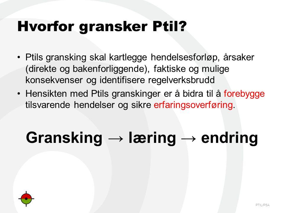 PTIL/PSA Ptils gransking baseres på følgende regelverkskrav: •Kronprinsregentens resolusjon om etablering av Ptil datert 19.12.2003 •Forvaltningsloven, særlig § 15 om fremgangsmåten ved gransking o.l.