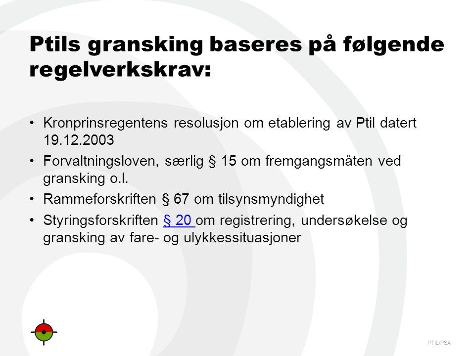 PTIL/PSA Ptils gransking baseres på følgende regelverkskrav: •Kronprinsregentens resolusjon om etablering av Ptil datert 19.12.2003 •Forvaltningsloven