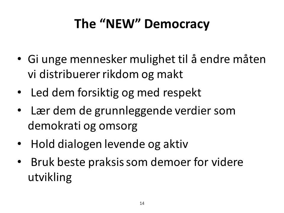 The NEW Democracy • Gi unge mennesker mulighet til å endre måten vi distribuerer rikdom og makt • Led dem forsiktig og med respekt • Lær dem de grunnleggende verdier som demokrati og omsorg • Hold dialogen levende og aktiv • Bruk beste praksis som demoer for videre utvikling 14