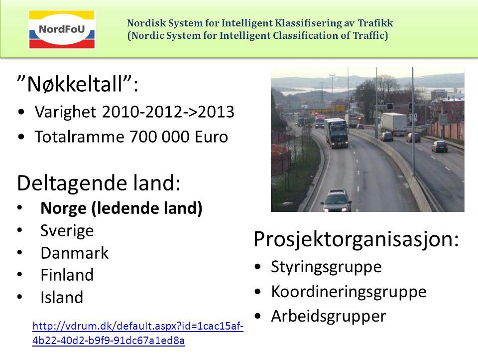 Nordisk System for Intelligent Klassifisering av Trafikk (Nordic System for Intelligent Classification of Traffic) Hovedmål Etablere en nordisk standard for klassifisering av kjøretøy for å kunne utveksle og sammenligne trafikkdata mellom landene.