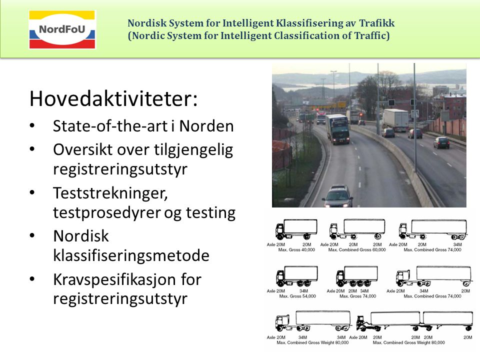 Nordisk System for Intelligent Klassifisering av Trafikk (Nordic System for Intelligent Classification of Traffic) Hovedaktiviteter: • State-of-the-ar