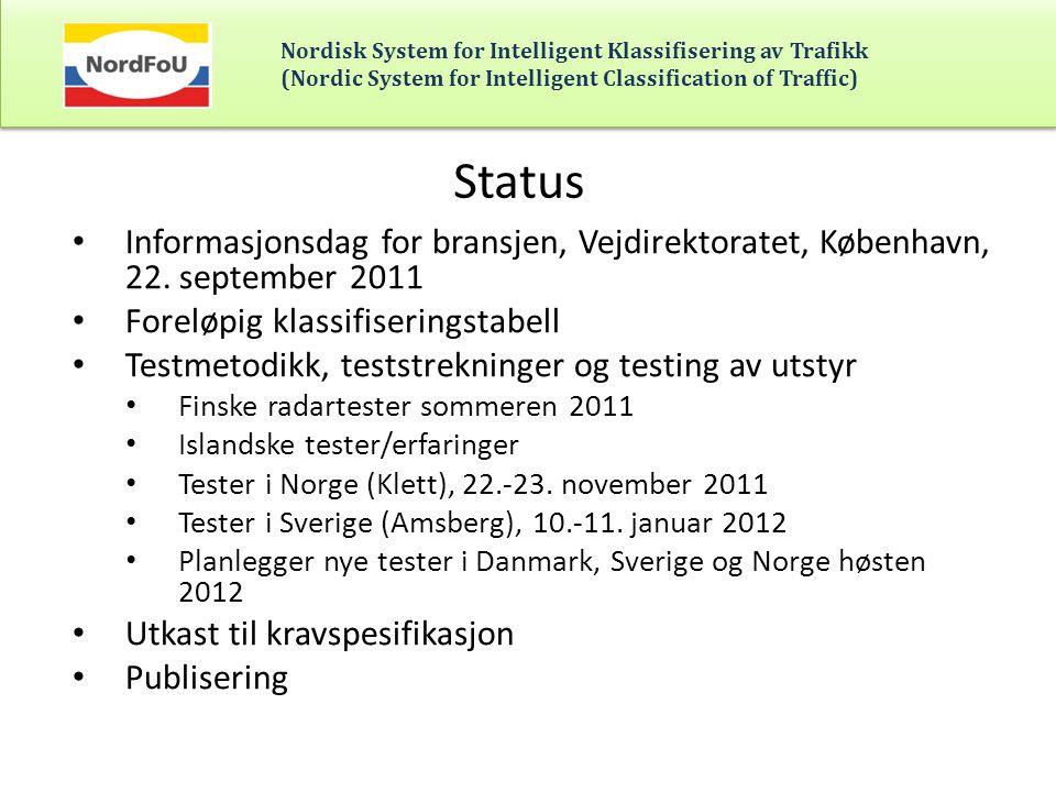 Nordisk System for Intelligent Klassifisering av Trafikk (Nordic System for Intelligent Classification of Traffic) Ekstern bistand til: • Utvikling av testmetodikk • Gjennomføring av tester • Bistand med analyser av måledata