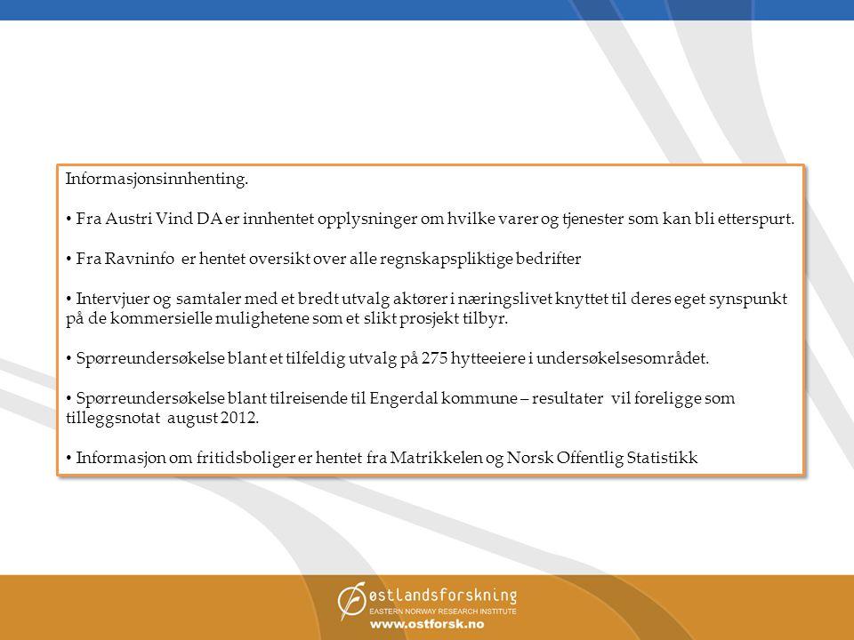 Informasjonsinnhenting. • Fra Austri Vind DA er innhentet opplysninger om hvilke varer og tjenester som kan bli etterspurt. • Fra Ravninfo er hentet o