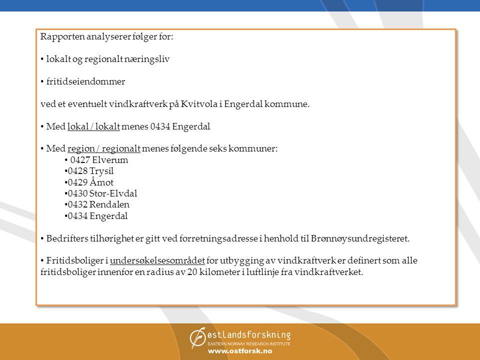 Rapporten analyserer følger for: • lokalt og regionalt næringsliv • fritidseiendommer ved et eventuelt vindkraftverk på Kvitvola i Engerdal kommune. •