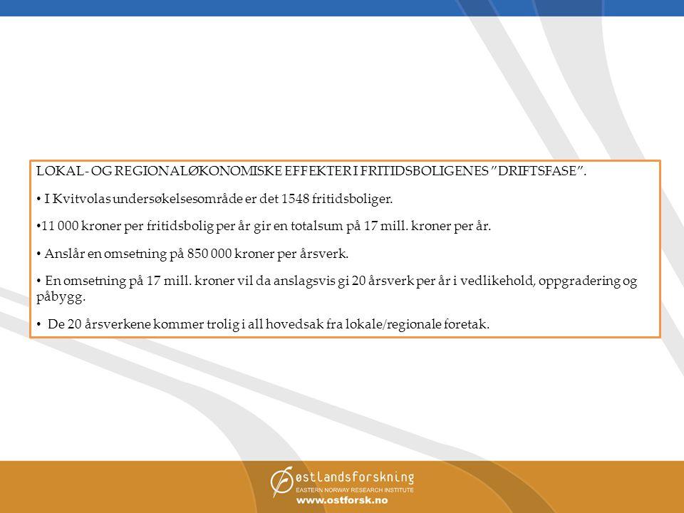 """LOKAL- OG REGIONALØKONOMISKE EFFEKTER I FRITIDSBOLIGENES """"DRIFTSFASE"""". • I Kvitvolas undersøkelsesområde er det 1548 fritidsboliger. • 11 000 kroner p"""