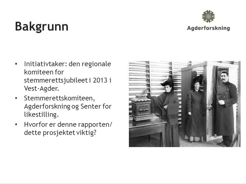 Bakgrunn • Initiativtaker: den regionale komiteen for stemmerettsjubileet i 2013 i Vest-Agder. • Stemmerettskomiteen, Agderforskning og Senter for lik