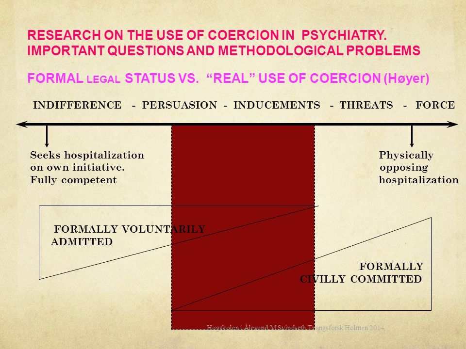 "RESEARCH ON THE USE OF COERCION IN PSYCHIATRY. IMPORTANT QUESTIONS AND METHODOLOGICAL PROBLEMS FORMAL LEGAL STATUS VS. ""REAL"" USE OF COERCION (Høyer)"