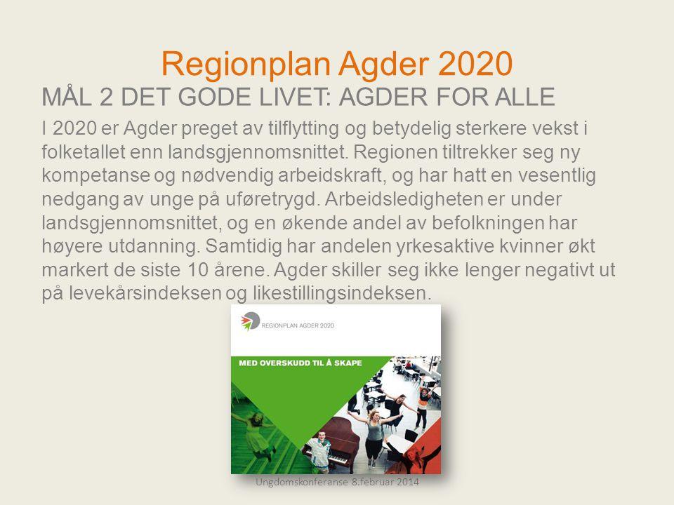 Regionplan Agder 2020 MÅL 2 DET GODE LIVET: AGDER FOR ALLE I 2020 er Agder preget av tilflytting og betydelig sterkere vekst i folketallet enn landsgjennomsnittet.