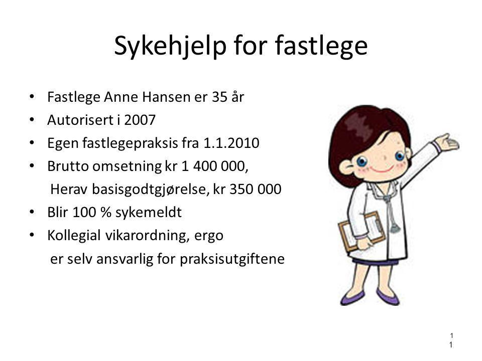 1 1 Sykehjelp for fastlege • Fastlege Anne Hansen er 35 år • Autorisert i 2007 • Egen fastlegepraksis fra 1.1.2010 • Brutto omsetning kr 1 400 000, He