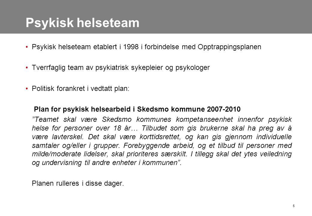 Psykisk helseteam •Psykisk helseteam etablert i 1998 i forbindelse med Opptrappingsplanen •Tverrfaglig team av psykiatrisk sykepleier og psykologer •P