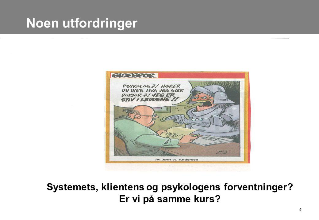 Noen utfordringer 9 Systemets, klientens og psykologens forventninger? Er vi på samme kurs?