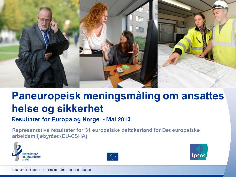 Paneuropeisk meningsmåling om ansattes helse og sikkerhet Resultater for Europa og Norge - Mai 2013 Representative resultater for 31 europeiske deltak