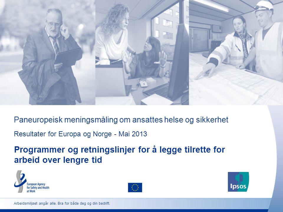 Paneuropeisk meningsmåling om ansattes helse og sikkerhet Resultater for Europa og Norge - Mai 2013 Programmer og retningslinjer for å legge tilrette