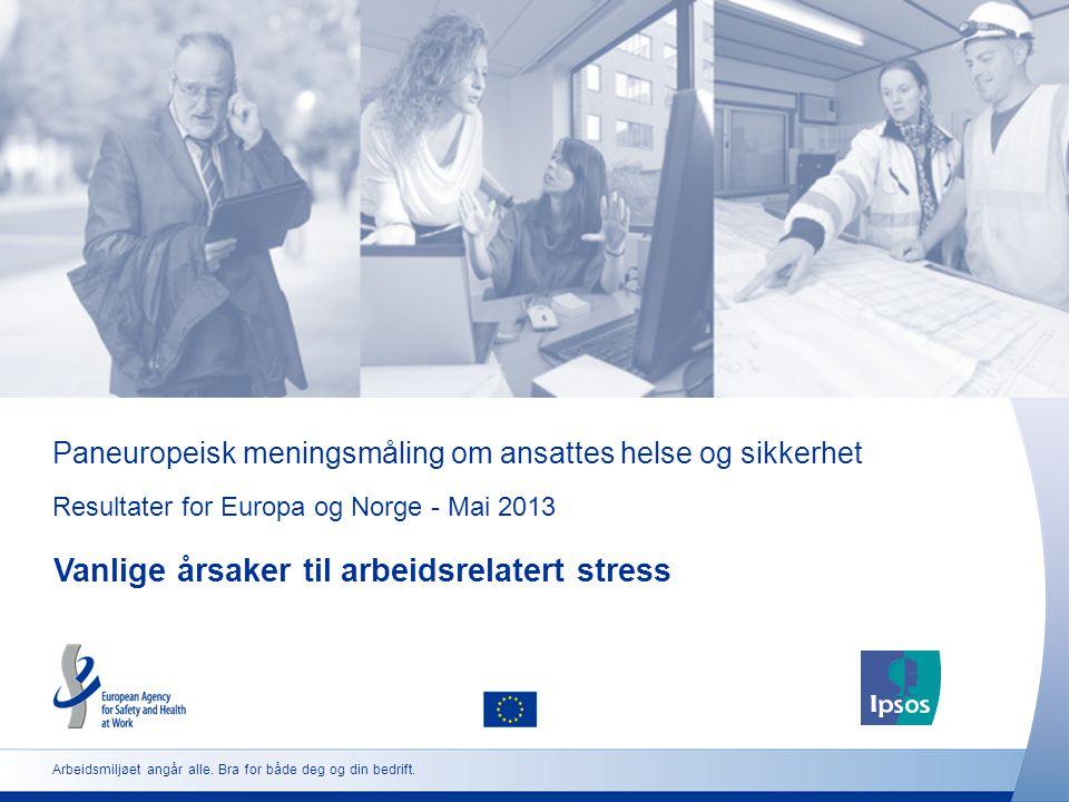 Paneuropeisk meningsmåling om ansattes helse og sikkerhet Resultater for Europa og Norge - Mai 2013 Vanlige årsaker til arbeidsrelatert stress Arbeids