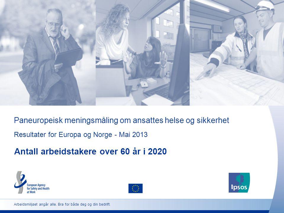 Paneuropeisk meningsmåling om ansattes helse og sikkerhet Resultater for Europa og Norge - Mai 2013 Antall arbeidstakere over 60 år i 2020 Arbeidsmilj