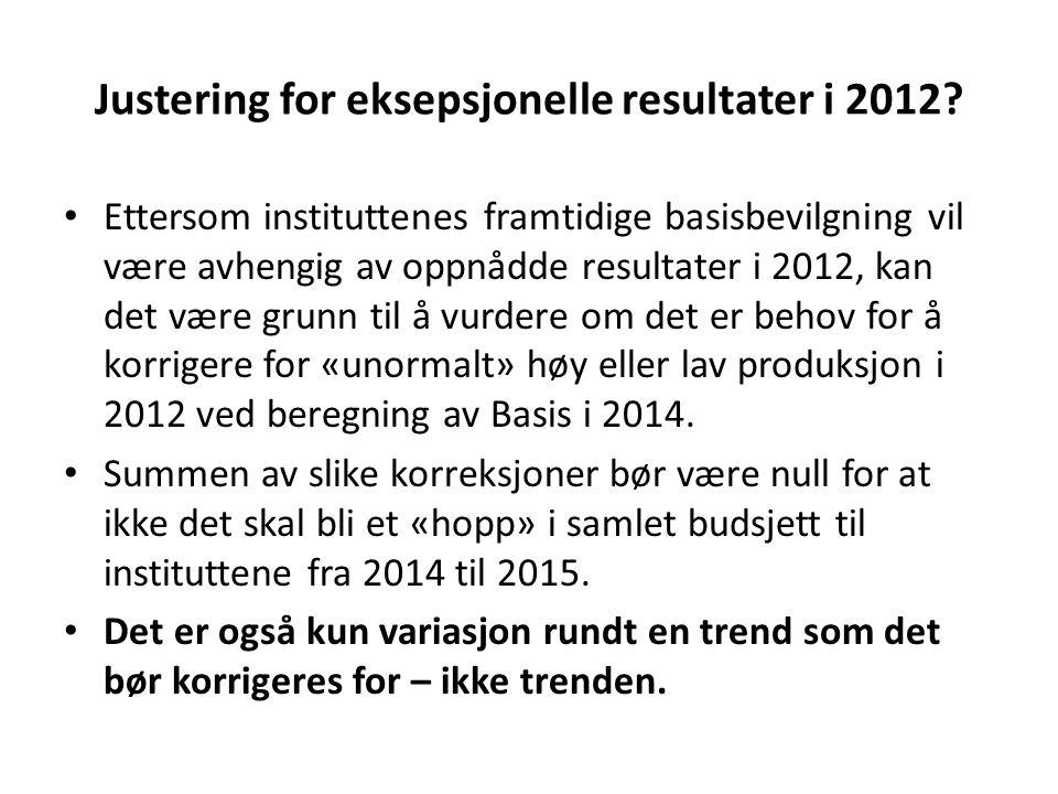 Justering for eksepsjonelle resultater i 2012? • Ettersom instituttenes framtidige basisbevilgning vil være avhengig av oppnådde resultater i 2012, ka