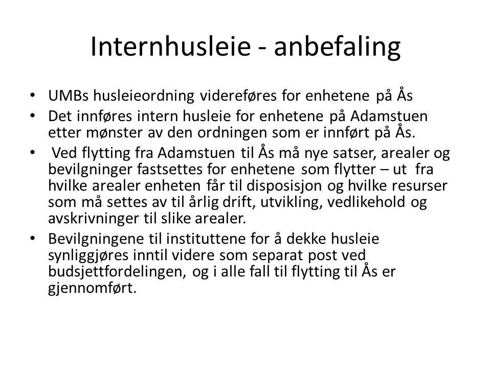 Internhusleie - anbefaling • UMBs husleieordning videreføres for enhetene på Ås • Det innføres intern husleie for enhetene på Adamstuen etter mønster