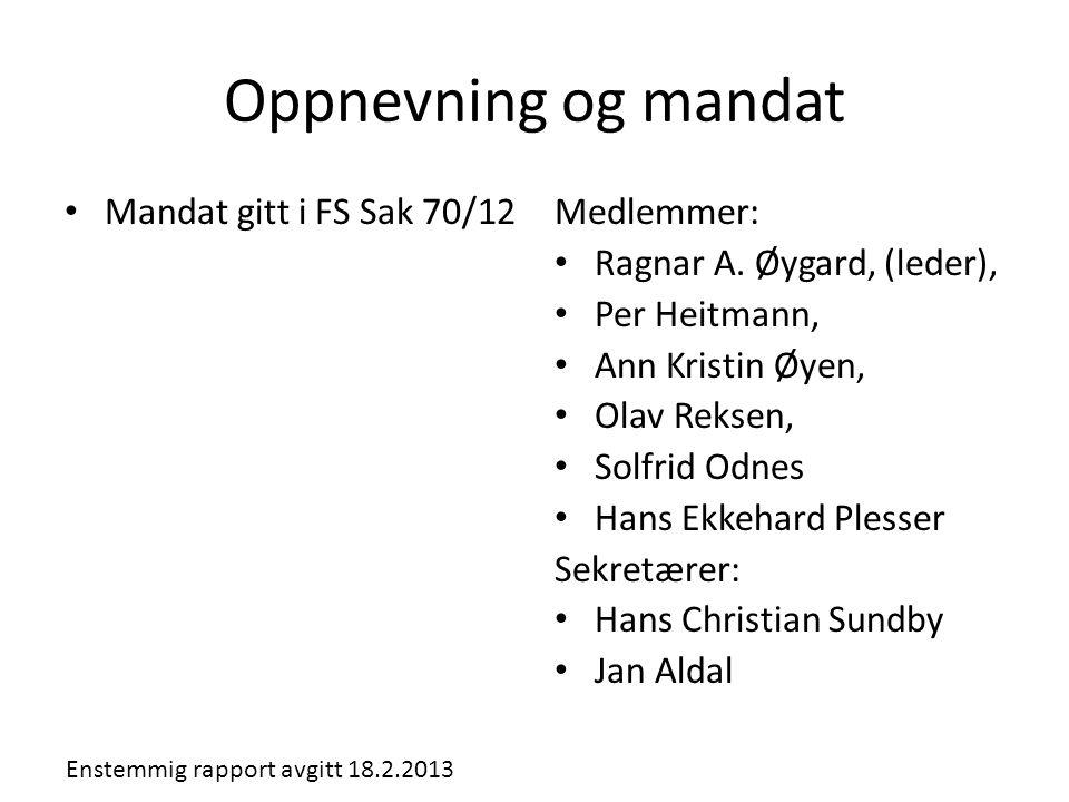 Oppnevning og mandat • Mandat gitt i FS Sak 70/12Medlemmer: • Ragnar A. Øygard, (leder), • Per Heitmann, • Ann Kristin Øyen, • Olav Reksen, • Solfrid