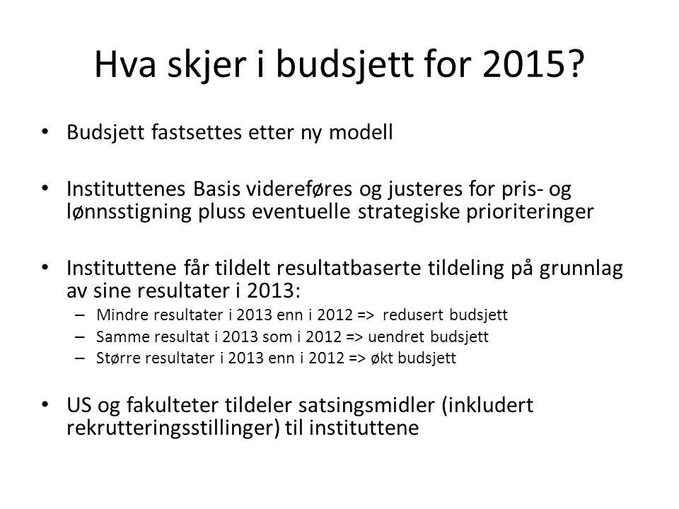 Hva skjer i budsjett for 2015? • Budsjett fastsettes etter ny modell • Instituttenes Basis videreføres og justeres for pris- og lønnsstigning pluss ev