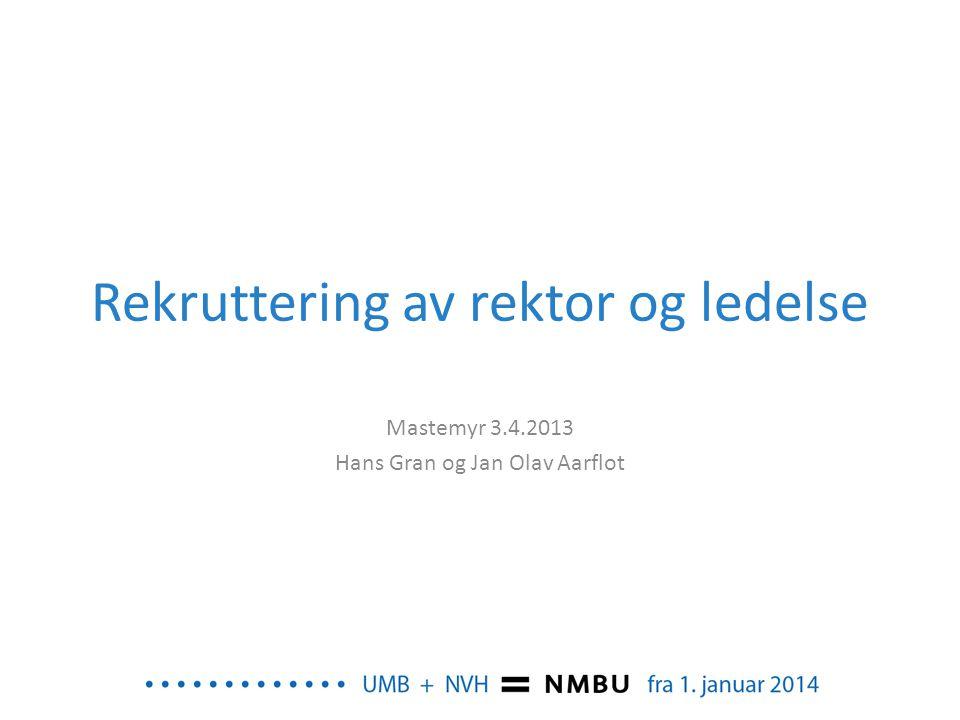 Rekruttering av rektor og ledelse Mastemyr 3.4.2013 Hans Gran og Jan Olav Aarflot