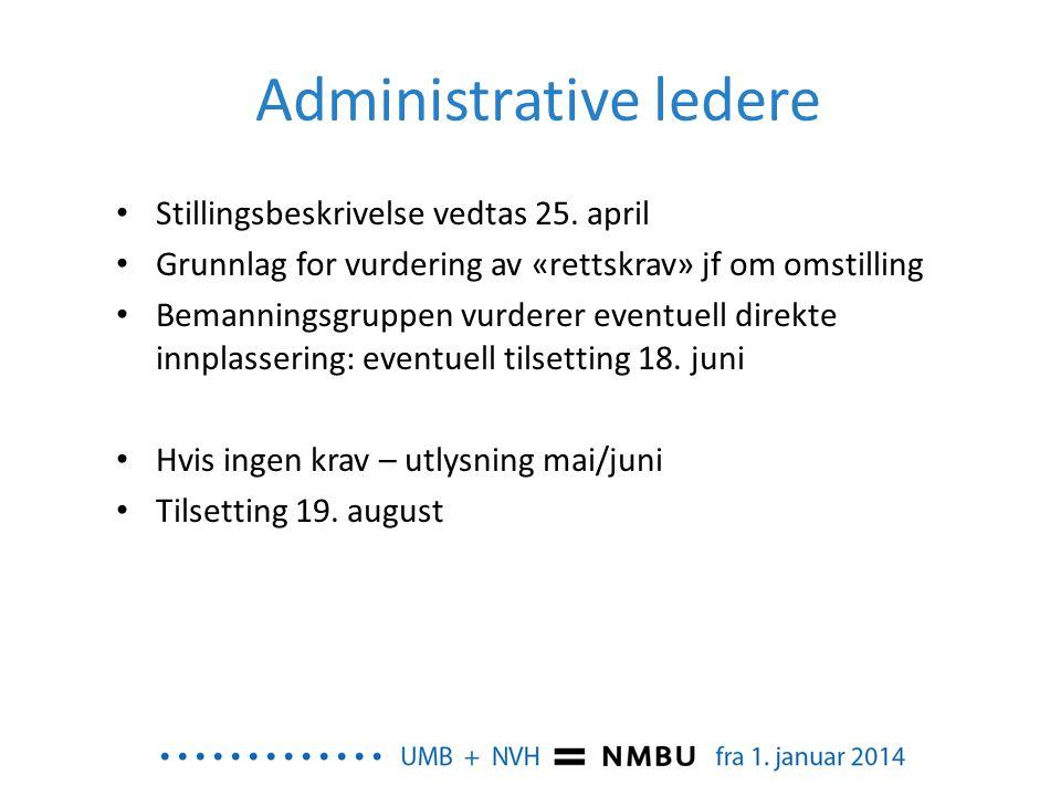 Administrative ledere • Stillingsbeskrivelse vedtas 25. april • Grunnlag for vurdering av «rettskrav» jf om omstilling • Bemanningsgruppen vurderer ev