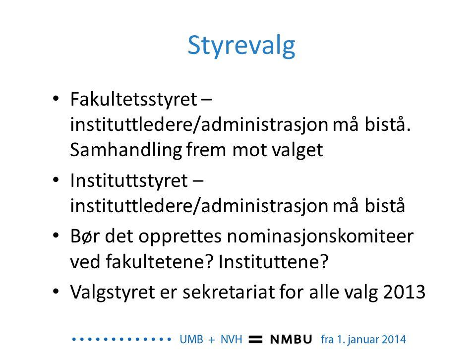 Styrevalg • Fakultetsstyret – instituttledere/administrasjon må bistå. Samhandling frem mot valget • Instituttstyret – instituttledere/administrasjon