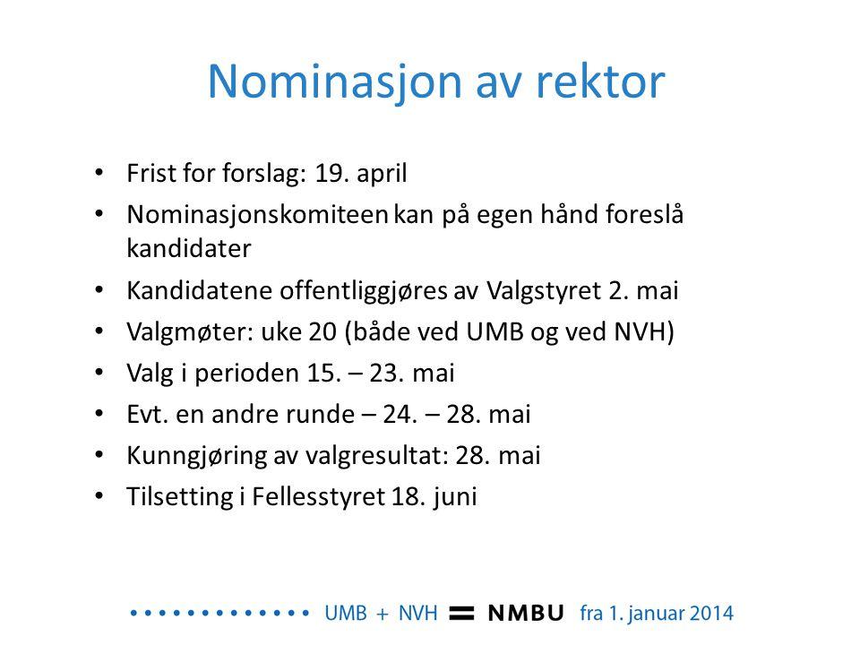 Nominasjon av rektor • Frist for forslag: 19. april • Nominasjonskomiteen kan på egen hånd foreslå kandidater • Kandidatene offentliggjøres av Valgsty