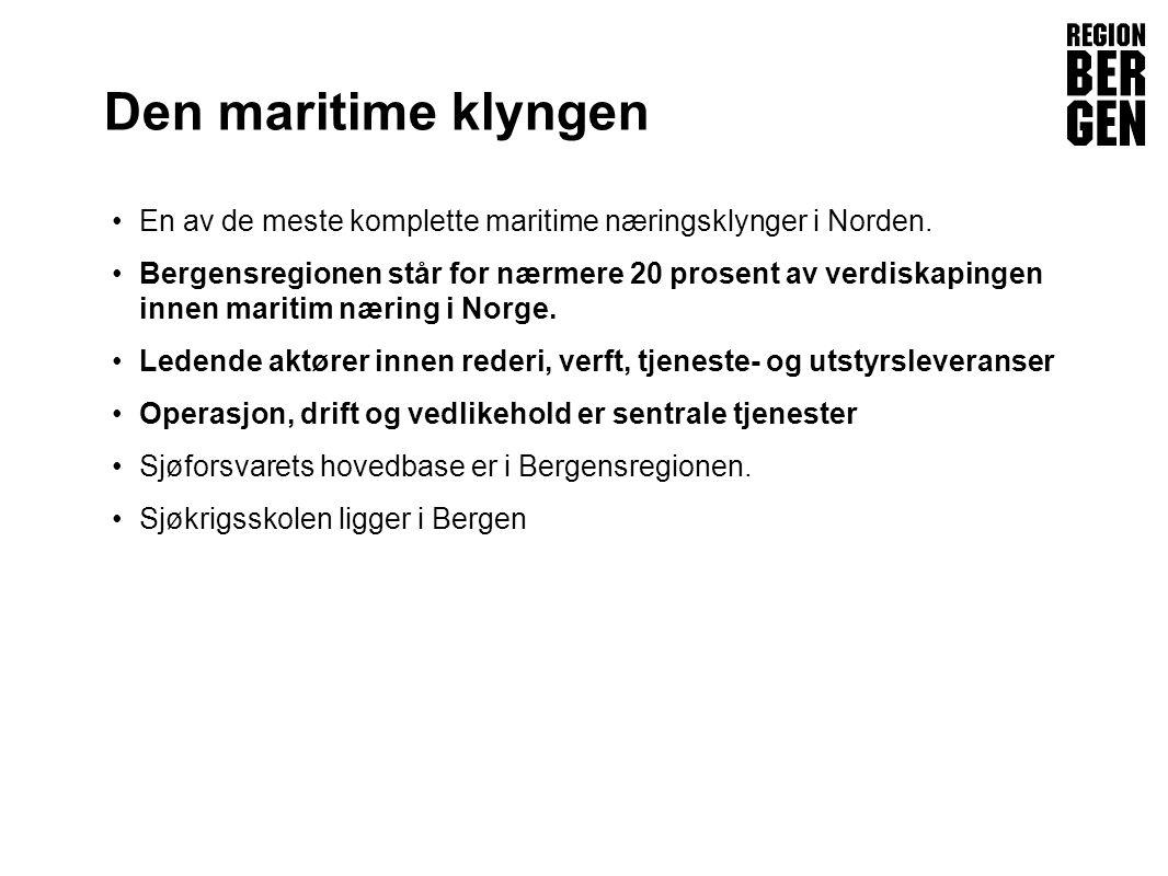 Insert company logo here Den maritime klyngen •En av de meste komplette maritime næringsklynger i Norden.