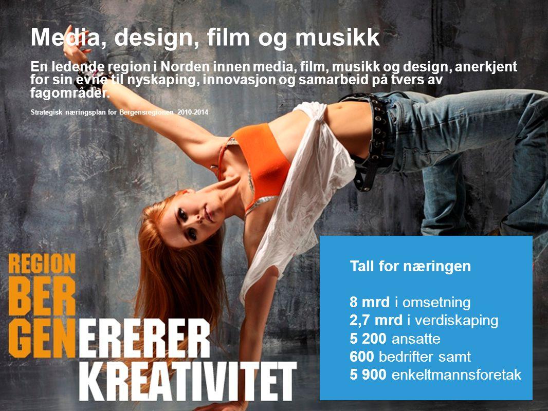 Insert company logo here Media, design, film og musikk En ledende region i Norden innen media, film, musikk og design, anerkjent for sin evne til nyskaping, innovasjon og samarbeid på tvers av fagområder.