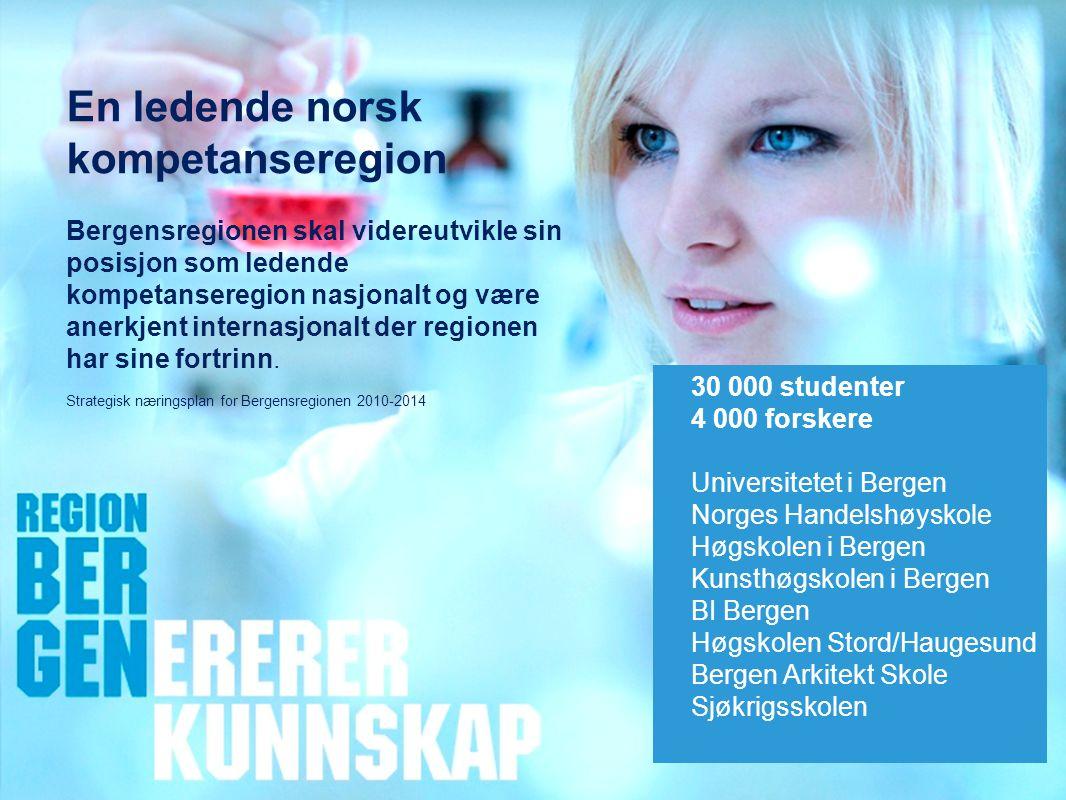 Insert company logo here En ledende norsk kompetanseregion Bergensregionen skal videreutvikle sin posisjon som ledende kompetanseregion nasjonalt og være anerkjent internasjonalt der regionen har sine fortrinn.