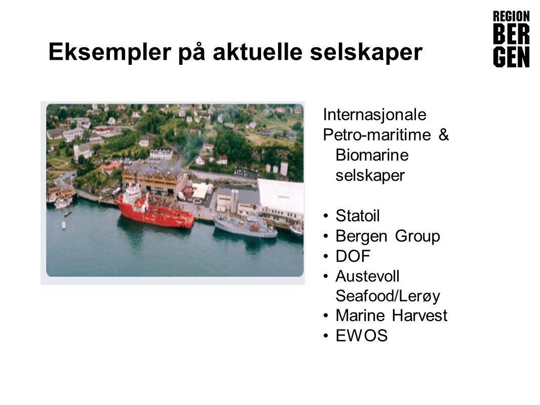 Insert company logo here Eksempler på aktuelle selskaper Internasjonale Petro-maritime & Biomarine selskaper •Statoil •Bergen Group •DOF •Austevoll Seafood/Lerøy •Marine Harvest •EWOS