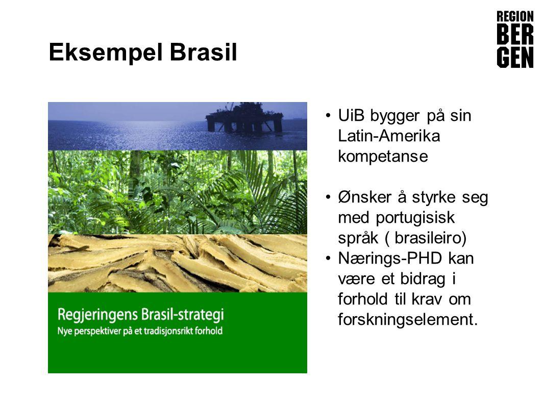 Insert company logo here Eksempel Brasil •UiB bygger på sin Latin-Amerika kompetanse •Ønsker å styrke seg med portugisisk språk ( brasileiro) •Nærings-PHD kan være et bidrag i forhold til krav om forskningselement.