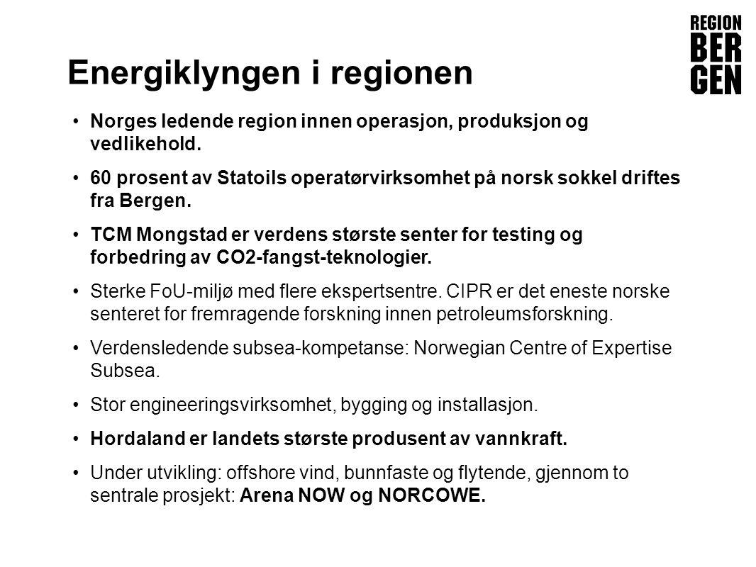 Insert company logo here Energiklyngen i regionen •Norges ledende region innen operasjon, produksjon og vedlikehold.